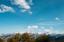 Autum Landscape And Snowy Moun...