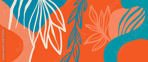 Fotografie, Obraz Botanical abstract organic shapes background vector in warm earthy colors