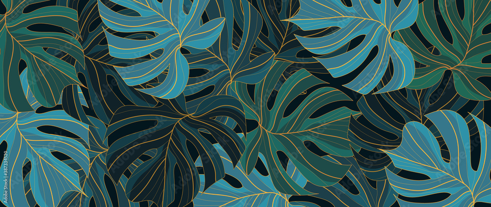 Fototapeta Tropical leaf Wallpaper, Luxury nature leaves pattern design, Golden banana leaf line arts, Hand drawn outline design for fabric , print, cover, banner and invitation, Vector illustration..