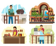 People Preparing Food In Jars, Cans And Bottles At Home Set. Woman Making Jam From Fruit And Vegetables In Cans, Girl With Plants, Man Baking Bread, Guy With Beer. Homemade Vector Illustration