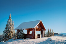 Wooden Pavilion On Snowy Mount...