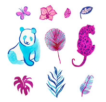 Watercolor Set Of Cute Animals Hand Drawn In Purple, Turquoise.Clip Art With Animals,leopard,butterfly,monster,palm,orchid On White Isolated Background.Design For Social Networks,banners,advertising.