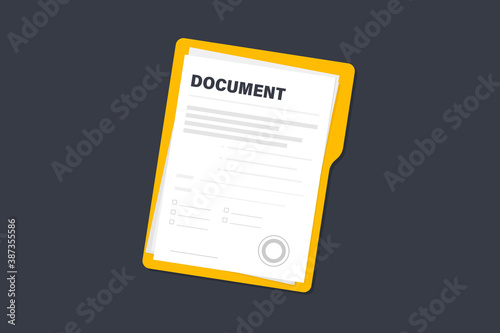 Fototapety, obrazy: Contract papers. Document. Folder with stamp and text. Stack of agreements document papers with signature and approval stamp. Contract documents. Concept of business paperwork, flat illustration