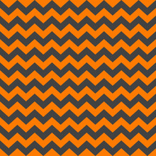 Zig Zag Halloween Pattern. Regular Chevron Stripes Of Orange And Gray Color. Classic Zigzag Lines Abstract Geometry Background. Seamless Texture Print. Vector Illustration