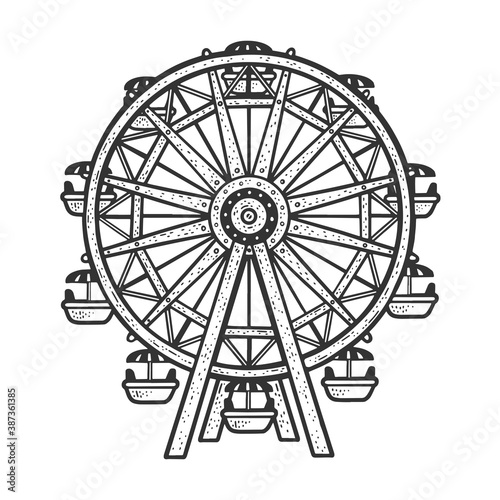Obraz Ferris wheel sketch engraving vector illustration. T-shirt apparel print design. Scratch board imitation. Black and white hand drawn image. - fototapety do salonu