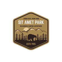 National Park Vintage Badge. Mountain Explorer Label. Outdoor Adventure Logo Design With Bear. Travel And Hipster Insignia. Wilderness, Forest Camping Emblem Hiking, Backpack Design Typography.