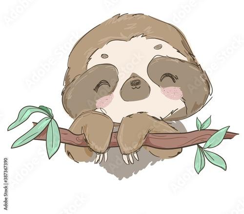 Naklejka premium Hand drawn cute animal sloth on the tree vector illustration