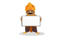 Vector Graphic Illustration. Kumbhakarna Is Holding Whiteboard In Hand. Individually On A White Background.