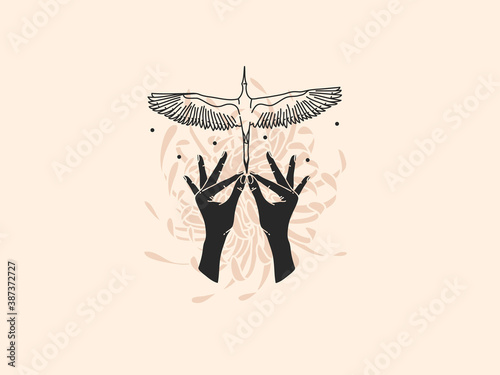 Naklejka premium Hand drawn vector abstract stock flat graphic illustration with logo elements ,crane bird in human hand , magic celestial sacred line art in simple style for branding ,isolated on color background
