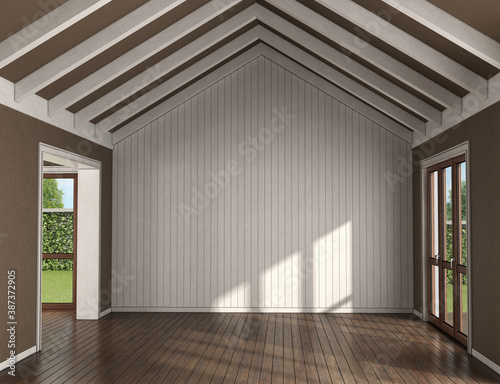 Obraz Empty living room with wooden wall on background - fototapety do salonu