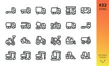 Heavy And Construction Machinery, Trucks And Tractors Isolated Icons Set. Set Of Crane, Cement Mixer Truck, Transporter, Front Loader, Farm Tractor, Dumper, Crawler Excavator, Forklift Vector Icon