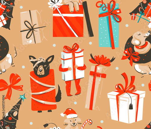 Fototapeta Hand drawn vector abstract fun stock flat Merry Christmas,and Happy New Year time cartoon festive seamless pattern with cute dog illustrations of Xmas gift boxes and dog isolated on color background obraz