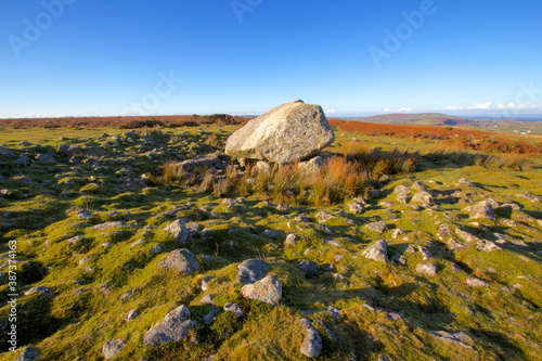 Arthurs Stone is located on the highest point of the Gower Peninsular in Wales Fototapet