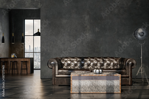 Obraz Living room interior in loft, industrial style, 3d render - fototapety do salonu