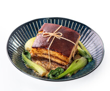 Isolated Dong Po Rou (Dongpo Pork Meat) In A Beautiful Plate With Green Vegetable.
