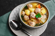 A Bowl Of Soup With Meatballs ...