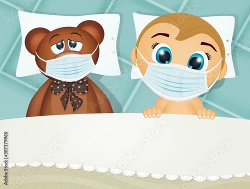 Fotografija child and teddy bear with surgicl mask