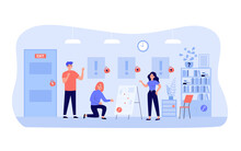 Happy People Playing In Quest Escape Room Isolated Flat Vector Illustration. Cartoon Adventurers Or Hunters Searching Exit And Looking For Treasure. Game And Adventure Concept