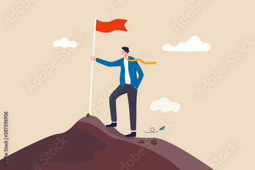 Fototapeta Business goal achievement, success career development or motivation and work or project accomplishment concept, confidence businessman standing proudly with victory flag on high mountain peak up hill. obraz
