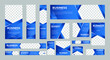 set of abstract web banners of standard size with a place for photos. Business Ad Banner with Blue Gradient