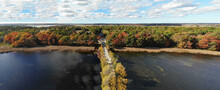 Aerial View Of Colorful Autumn Foliage Over The Scarborough Beach State Park Near Portland, Maine, United States