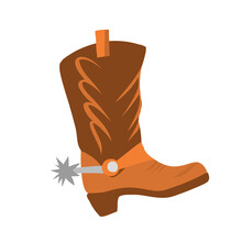 Vector Illustration With Cowboy Boot On A White Background Isolated. Leather Shoes For Riding A Horse In The Style Of Flat. Beautiful Shoes With Spurs And Heels. Western Animation, Cowboy Game