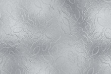 Silver Texture. Leafy Background. Metallic Effect Foil. Silver Metal Surface. Glitter Backdrop. Glitterer Surface With Leaves For Design Wedding Greeting, Invitation, Wallpaper, Cards, Prints. Vector
