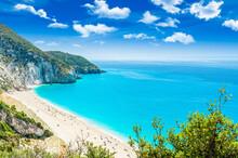Milos Beach On Lefkada Island,...