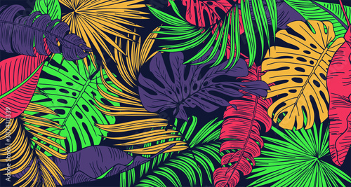 Vintage tropic pattern design. Cool floral wallpaper. Vector.