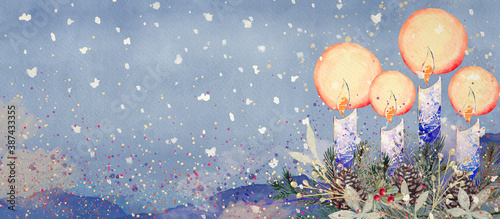 Fotografia Advent Wreath with Candles. Watercolor christian background.