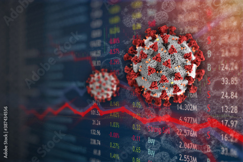 Fotomural Stock Market plunge from Covid-19 Coronavirus pandemic