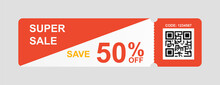 Vector Discount Coupon Flyer Sticker Or Banner With QR Code