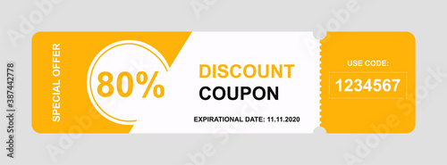Vector discount coupon flyer sticker or banner.