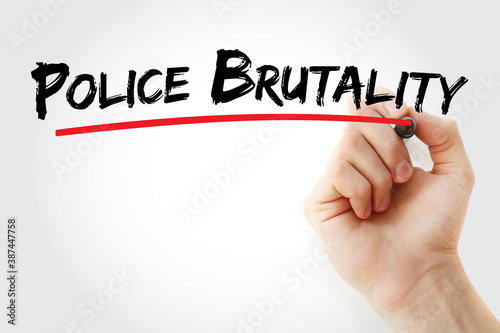Valokuvatapetti Police brutality text with marker, concept background