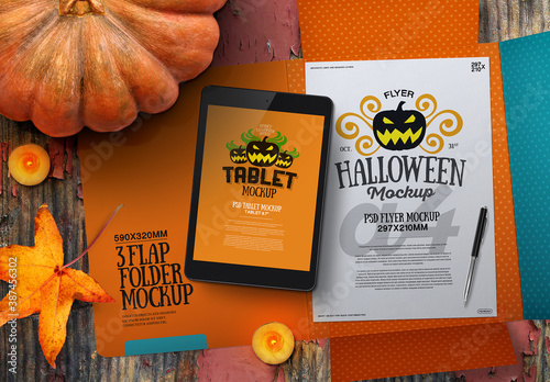 Obraz Halloween Autumn Stationery Tablet & 3 Flap Folder Mockup - fototapety do salonu