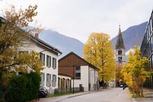 Amazing Autumn In Martigny, Canton Of Valais, Switzerland
