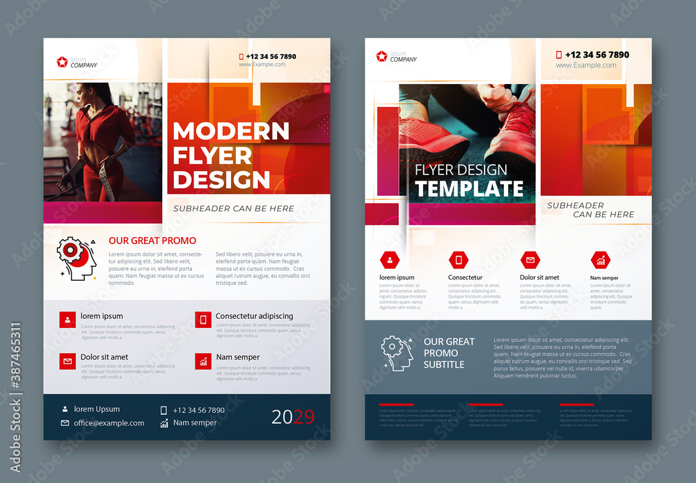 Fototapeta Corporate Flyer Layout with Dynamic Elements and Red Accents