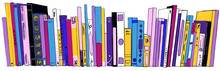 Stack Of Books On Bookshelves Colorful Illustration Hand Drawn Sketch Isolate Doodle Style On White Background