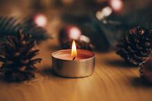 Tea Light Candles Lit With Fla...