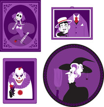 Funny Creepy Halloween Theme Family Portraits, Witch, Scary Clown, Skeleton And Headless Man, EPS 8 Vector Illustration