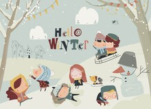 Happy Cute Kids Playing Winter...