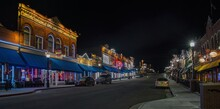 Night Photo Of The Gambling Town Of Cripple Creek, Colorado Located Next To A Mountaintop Gold Mine