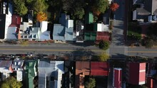 Aerial Camera Looking Straight Down At The Roofs Of Houses In Shepherdstown, WV On An Autumn Morning.