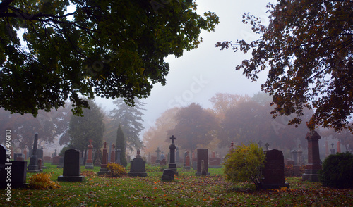 Tela Monument in Notre-Dame-des-Neiges Cemetery during a rainy and foggy day in fall