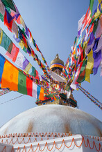 Buddhist Temple With Flags In Kathmandu Country