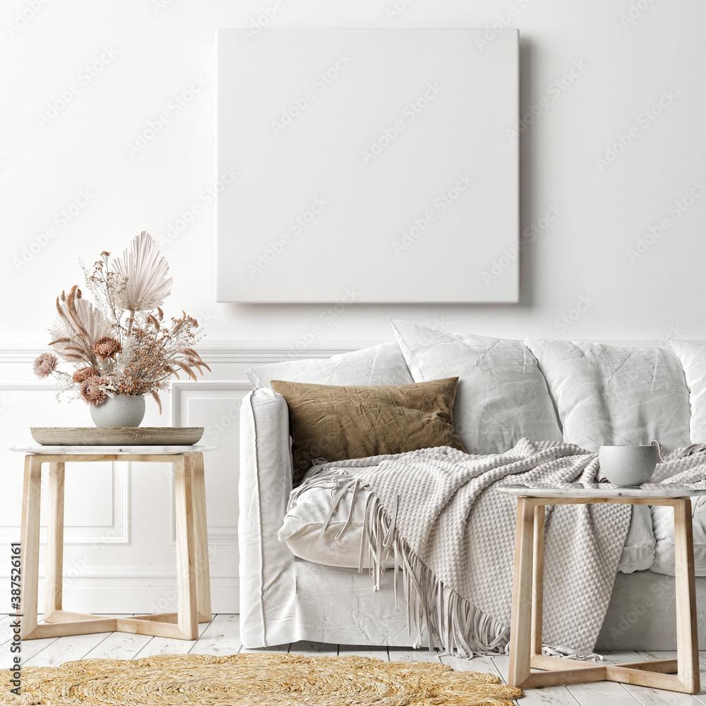 Fototapeta Mockup poster frame on the wall, a white sofa in Scandinavian Livingroom, 3d rendering, 3d illustration