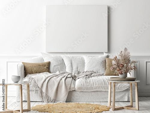 Fotografia, Obraz Mockup poster frame on the wall, a white sofa in Scandinavian Livingroom, 3d ren