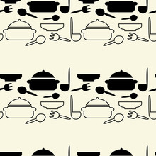 Seamless Pattern With Kitchen ...