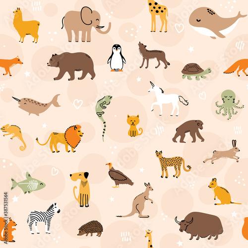 Naklejka premium Cute pets and zoo animals seamless pattern design on pastel peach background - childish nursery illustrations
