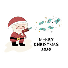 Happy Santa Claus Play With Dollar Banknote Short Gun For Give Away Money In The Air. Vector Illustration Of Funny Merry Christmas Greetings Card.